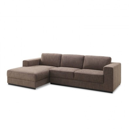 Corner sofa design left 4 side seats with Ma chaise in fabric (Brown)
