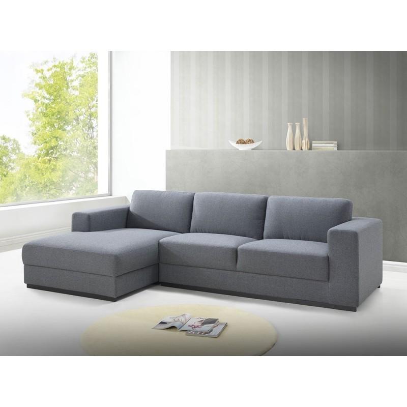 Canapé d'angle côté Gauche design 4 places avec méridienne MAGALIE en tissu (gris) - image 30392