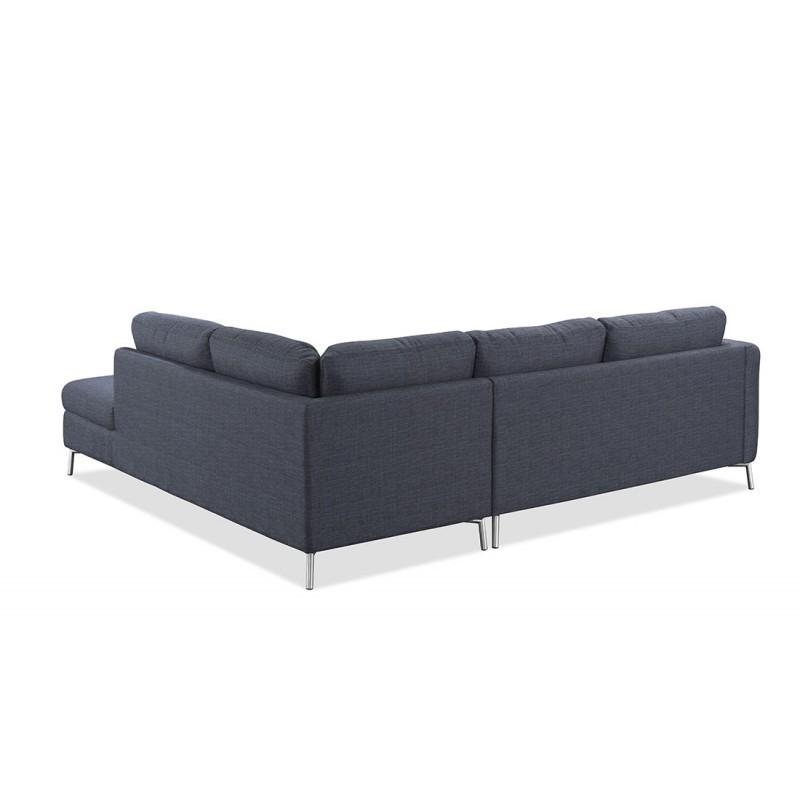 Canapé d'angle côté Droit design 3 places avec méridienne MORIS en tissu (gris foncé) - image 30409