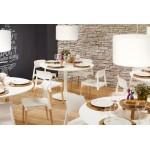 Table de repas ou bureau ronde design scandinave NILS en bois et métal peint (Ø 90 cm) (blanc)