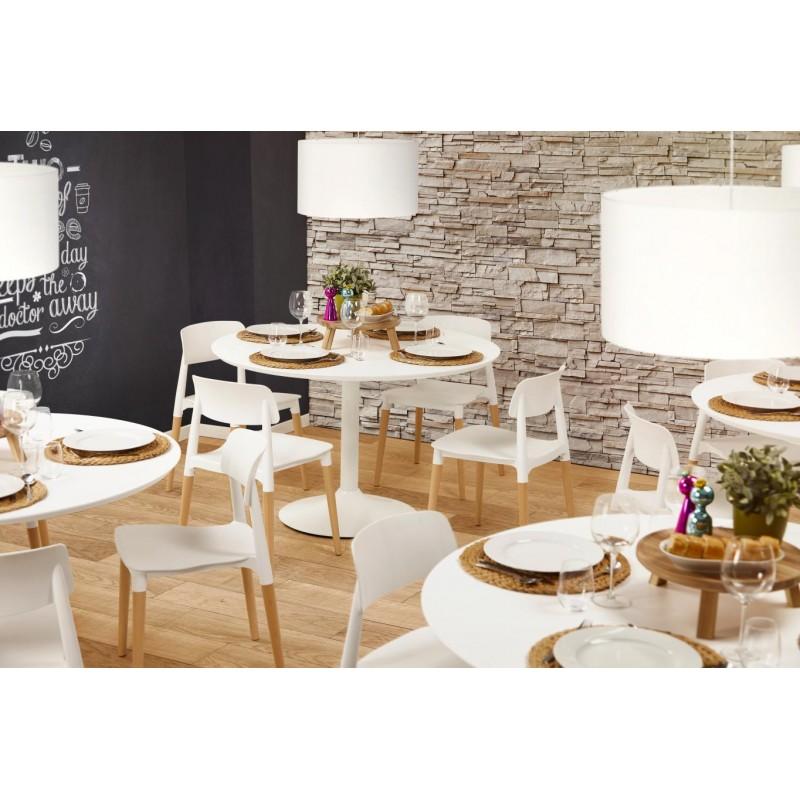 Table de repas ou bureau ronde design scandinave NILS en bois et métal peint (Ø 90 cm) (blanc) - image 30430