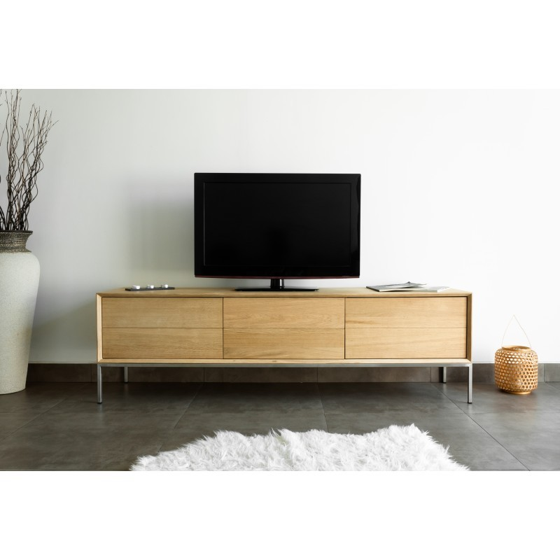 meuble tv bas design 2 tiroirs 1 porte jason en ch ne massif ch ne naturel. Black Bedroom Furniture Sets. Home Design Ideas