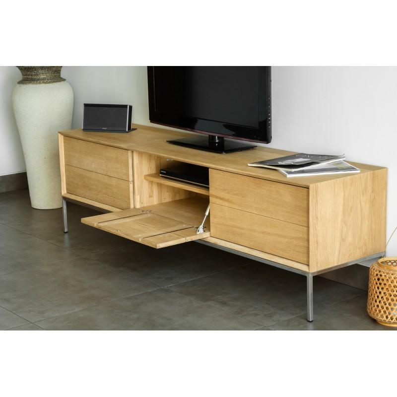 Meuble tv bas design 2 tiroirs 1 porte jason en ch ne - Meuble tv en chene naturel ...