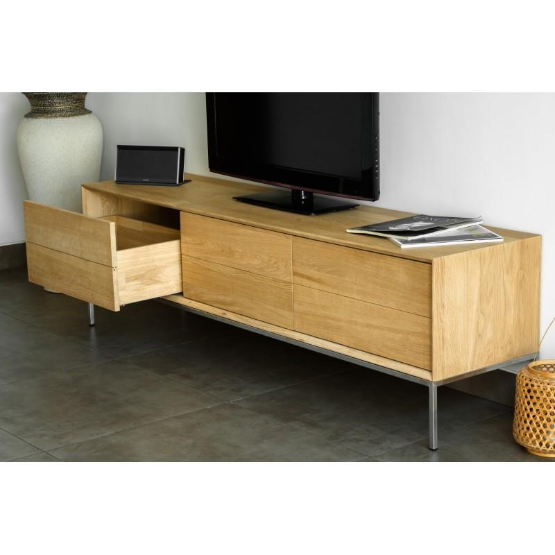 Mobili design basso tv 2 cassetti 1 anta rovere massello for Mobili 1 anta