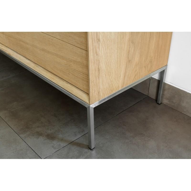 Meuble TV bas design 2 tiroirs 1 porte JASON en chêne massif (chêne naturel) - image 30440