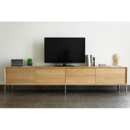 Cajones de gabinete bajo diseño 2 TV 2 puertas madera maciza de roble JASON (roble natural)