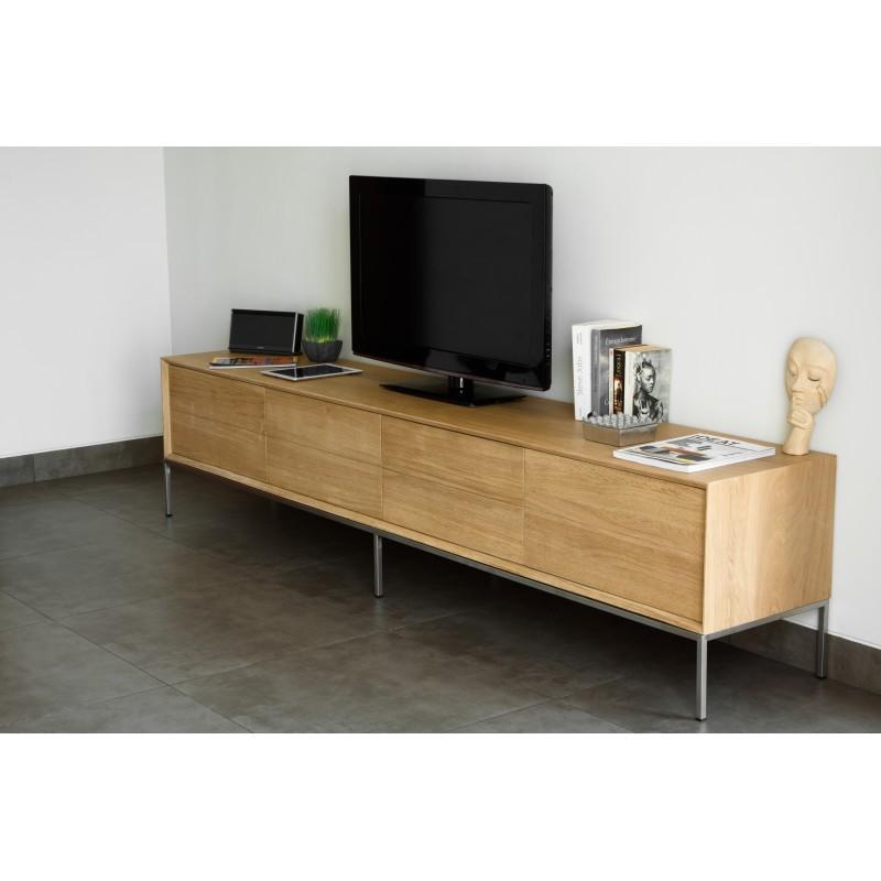 Meuble TV bas design 2 tiroirs 2 portes JASON en chêne massif (chêne naturel) - image 30444