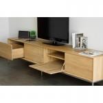 Meuble TV bas design 2 tiroirs 2 portes JASON en chêne massif (chêne naturel)