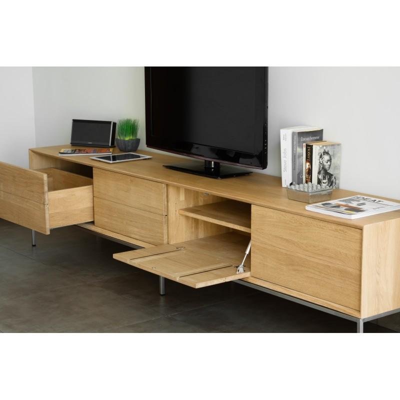 Meuble TV bas design 2 tiroirs 2 portes JASON en chêne massif (chêne naturel) - image 30445