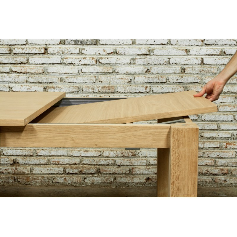 Table à manger extensible (180/235x90cmx76,5cm) JASON en chêne massif (chêne naturel) - image 30455