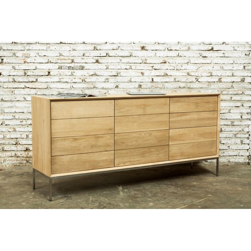 Buffet enfilade bas design 2 portes 3 tiroirs JASON en chêne massif (chêne naturel) - image 30485