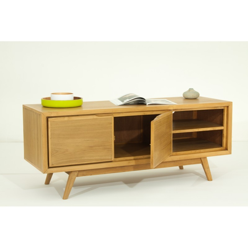 meuble tv r tro scandinave 2 portes 2 niches aaron en teck massif naturel. Black Bedroom Furniture Sets. Home Design Ideas