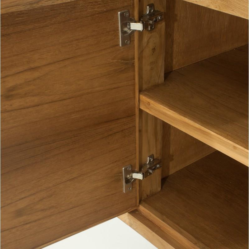 Buffet rétro scandinave 2 portes 3 tiroirs AARON en teck massif (naturel) - image 30516