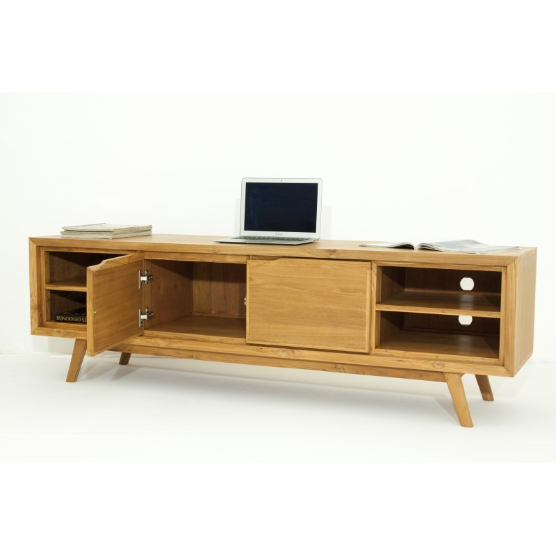 meuble tv r tro scandinave 2 portes 4 niches aaron en teck massif naturel. Black Bedroom Furniture Sets. Home Design Ideas