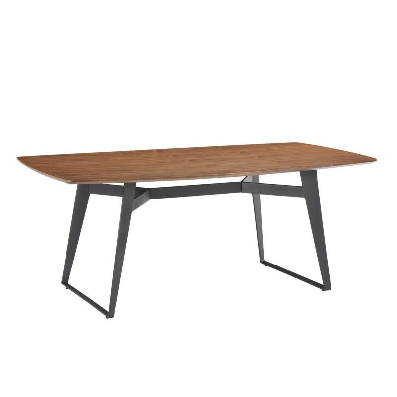 Table à manger contemporaine et vintage MAEL en bois et métal (200cmX90cmX77,5cm) (noyer, noir) - image 30535