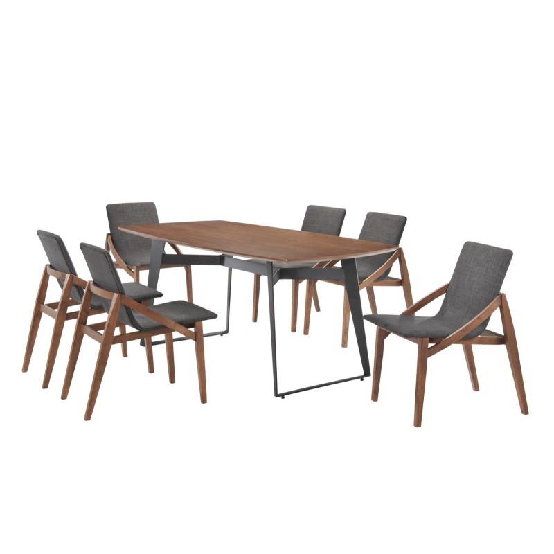 table manger contemporaine et vintage mael en bois et m tal 180cmx90cmx77 5cm noyer noir. Black Bedroom Furniture Sets. Home Design Ideas