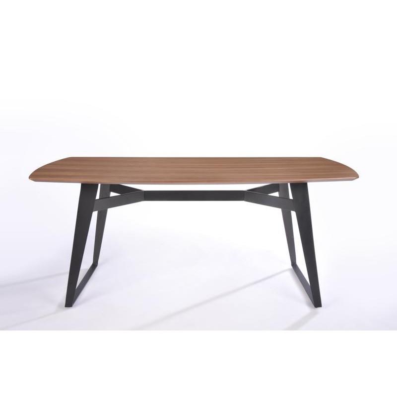 Table à manger contemporaine et vintage MAEL en bois et métal (180cmX90cmX77,5cm) (noyer, noir) - image 30542