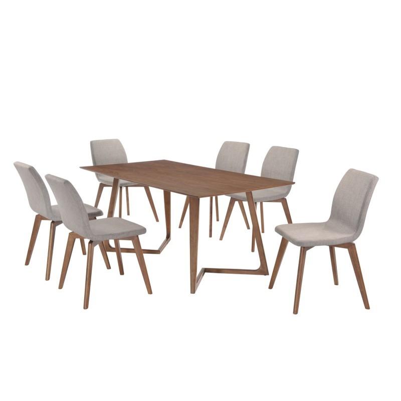 Table à manger design LOANE en bois (200cmX90cmX76cm) (noyer) - image 30545