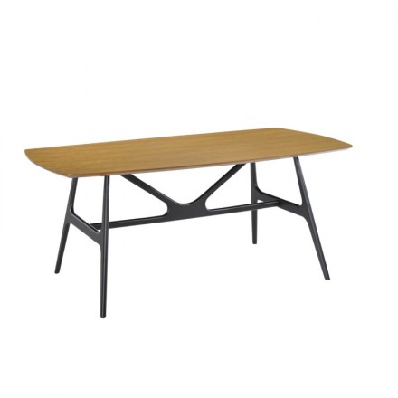 Dining table design KATELL (180cmX90cmX75, 5cm) wooden (oak)