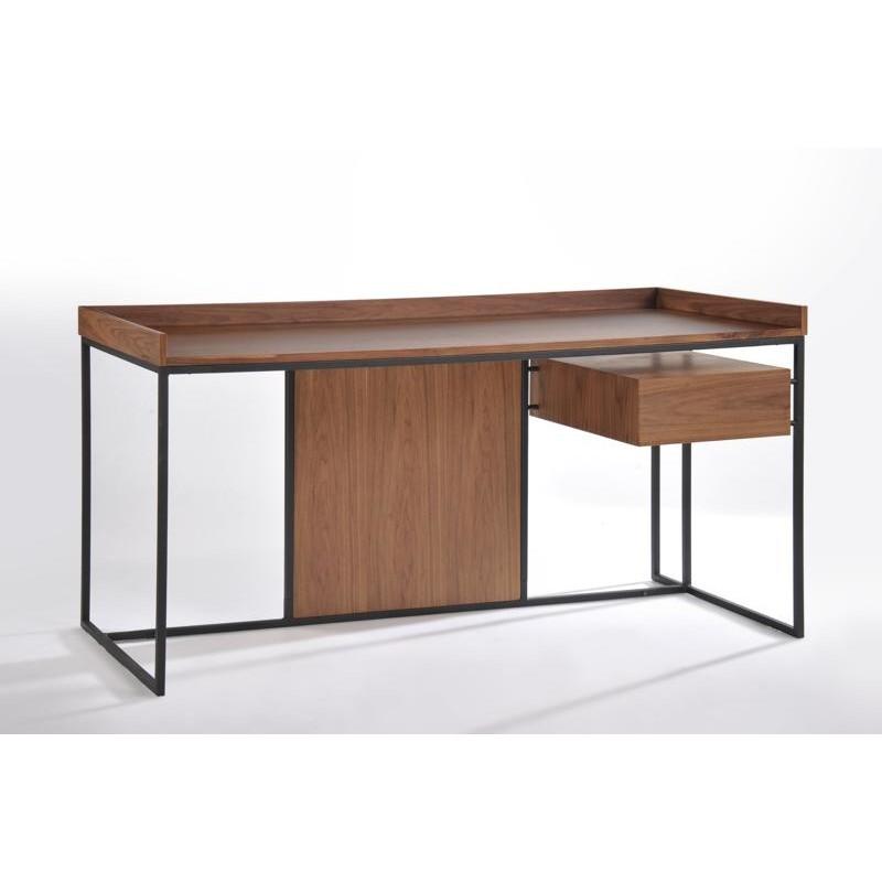 Bureau droit vintage ARMEL en bois et métal (noyer) - image 30555