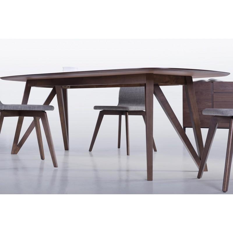 Table à manger contemporaine et vintage MAELYS en bois (240cmX100xcmX75cm) (noyer) - image 30570