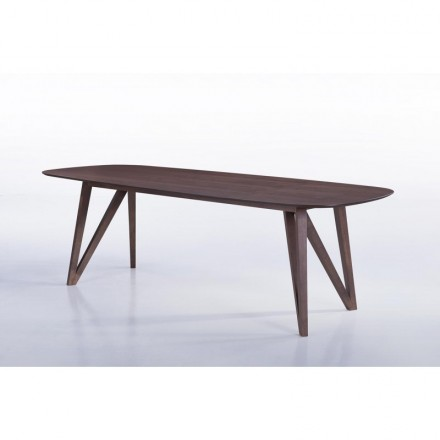 Table à manger contemporaine et vintage MAELYS en bois (240cmX100xcmX75cm) (noyer)
