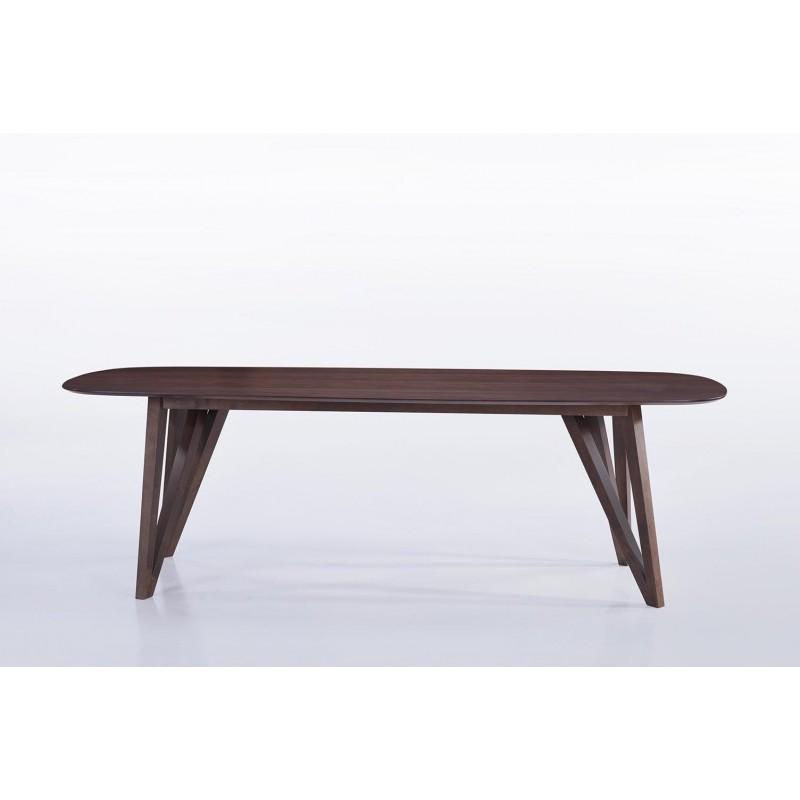 Table à manger contemporaine et vintage MAELYS en bois (240cmX100xcmX75cm) (noyer) - image 30576