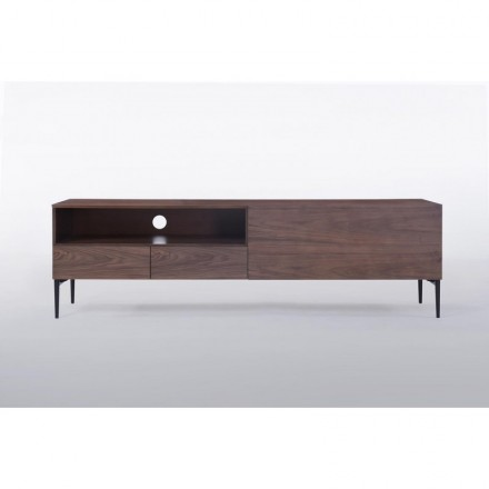 Furniture low TV 1 niche, 2 drawers, 1 door contemporary and vintage CORRÈZE wooden (Walnut)