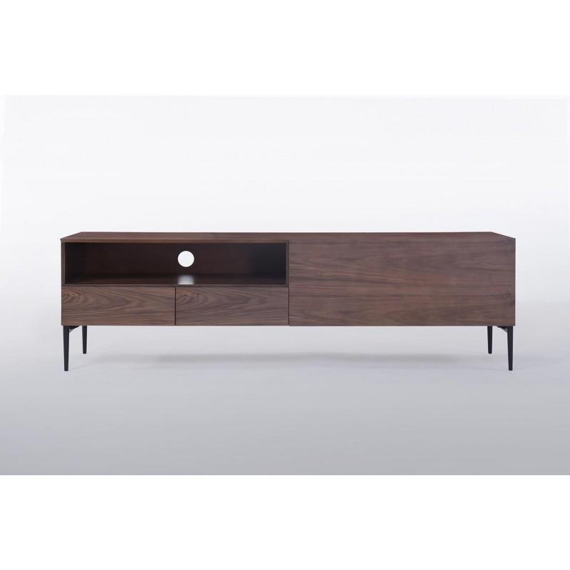 Meuble TV bas 1 niche, 2 tiroirs, 1 porte contemporain et vintage CORREZE en bois (noyer) - image 30582