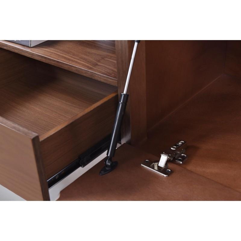 meuble tv bas 1 niche 2 tiroirs 1 porte contemporain et vintage correze en bois noyer. Black Bedroom Furniture Sets. Home Design Ideas