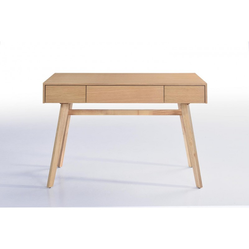 Bureau droit scandinave denez en bois ch ne naturel for Bureau scandinave