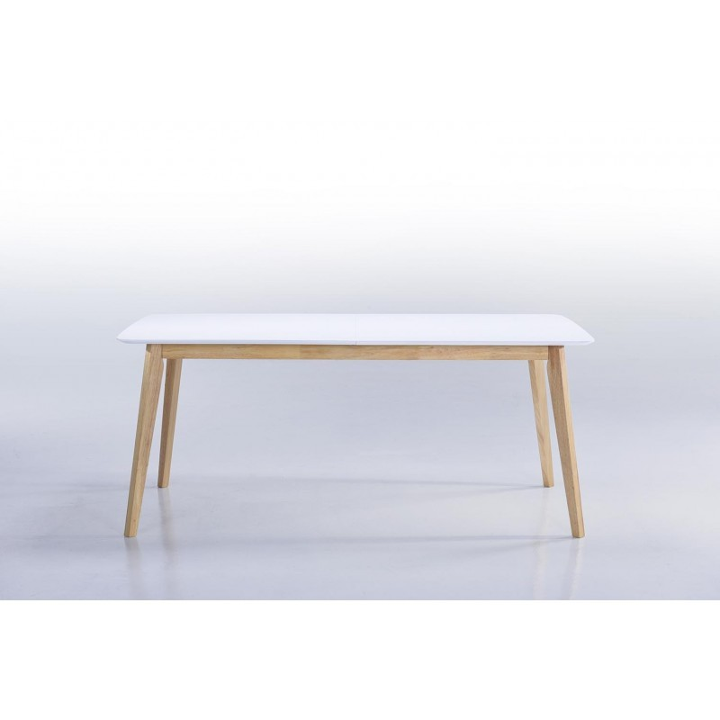 Table manger extensible scandinave evy en bois 180 for Table extensible blanc et bois