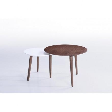 Tables basses gigognes ELIAZ en bois (noyer, blanc mat)