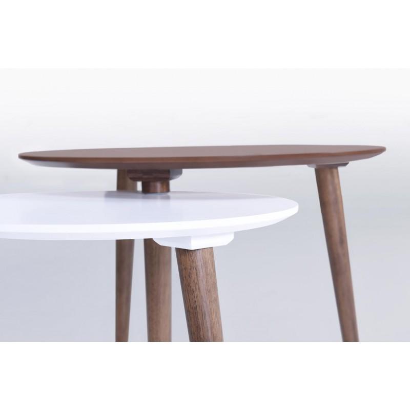 Tables basses gigognes ELIAZ en bois (noyer, blanc mat) - image 30630