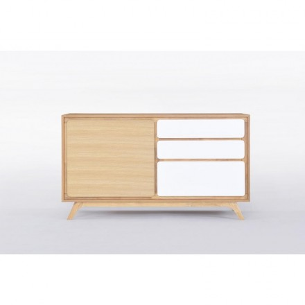 Buffet row 1 door 3 Scandinavian GAUD wooden drawers (natural oak, Matt White)