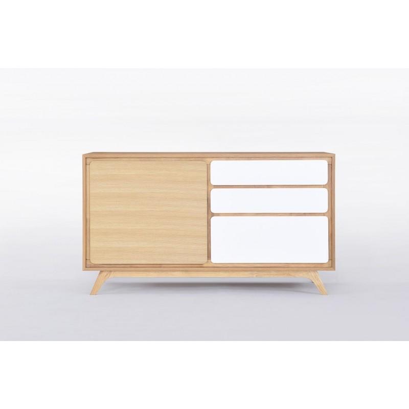buffet enfilade 1 porte 3 tiroirs scandinave gaud en bois ch ne naturel blanc mat. Black Bedroom Furniture Sets. Home Design Ideas