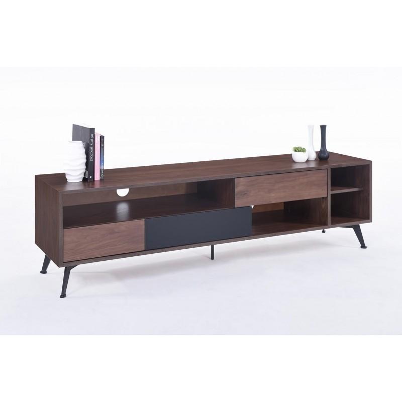 Meuble TV bas 4 niches, 3 tiroirs vintage MAGEN en bois (noyer) - image 30644
