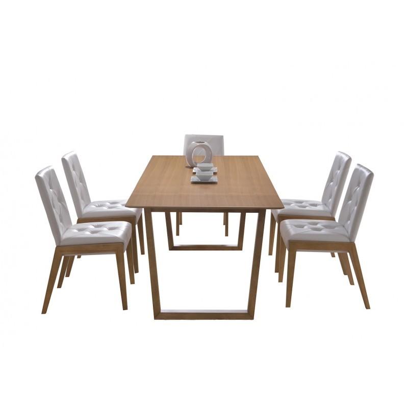 Mesa de comedor diseño EWEN madera (180cmX90X75cm) (roble) Mesa de comedor y mesa alta