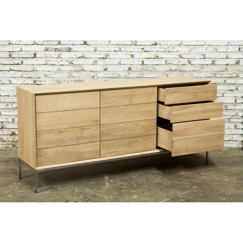 Buffet enfilade bas design 2 portes 3 tiroirs JASON en chêne massif (chêne naturel) - image 30671
