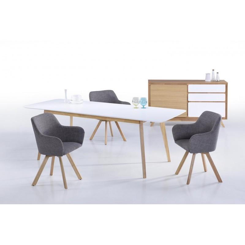 Lot von 2 Stühle skandinavischen Kopenhagen Stoff (hellgrau) - image 30673