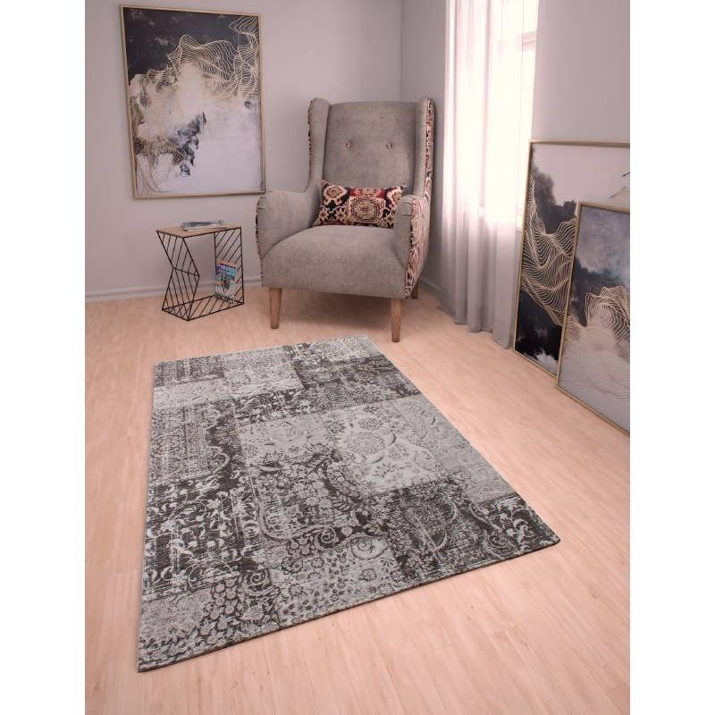 Soggiorno tappeto moderno 120 X 170 cm Berlino (grigio scuro - nero ...