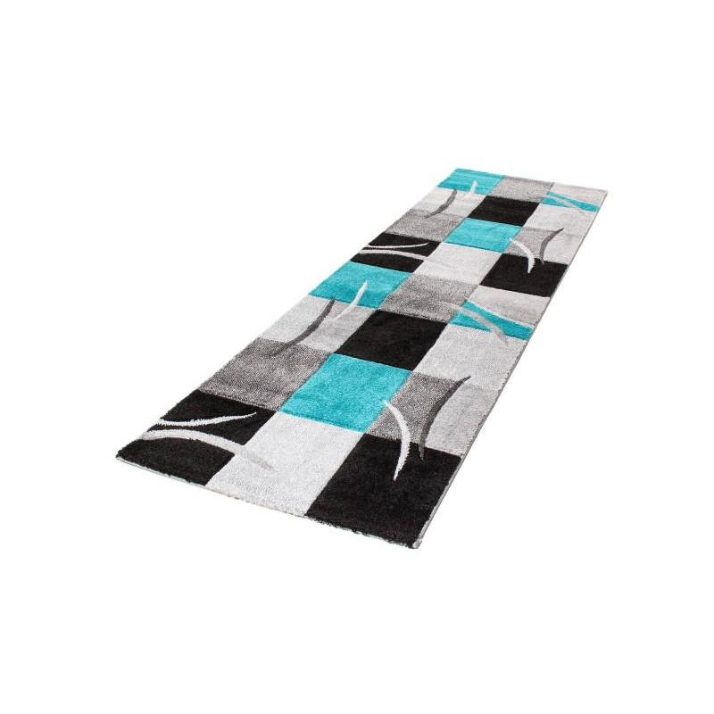 Tapis de couloir moderne et fris 80x300 cm modern frise for Tapis turquoise et gris