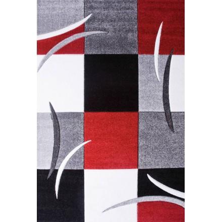 Wohnzimmer Teppich Modern und Fries 240 X 330 cm moderne FRIESLAND  SUPERVERSO (grau - rot) - AMP Story 4716