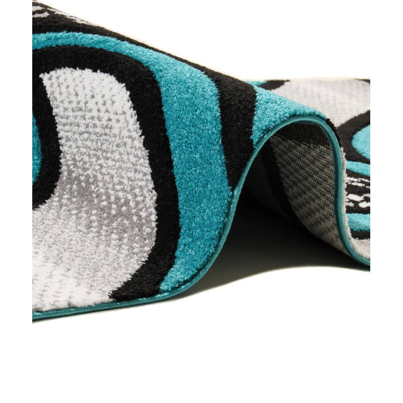 Soggiorno tappeto moderno e fregio 80 x 150 cm moderno for Tapis noir et turquoise