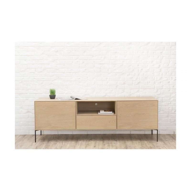 Mueble TV 2 puertas, 1 cajón, 1 nicho diseño BRIEG en 100% madera maciza de roble (roble natural cruda) - image 36028