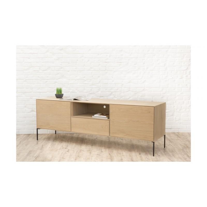 Mueble TV 2 puertas, 1 cajón, 1 nicho diseño BRIEG en 100% madera maciza de roble (roble natural cruda) - image 36029