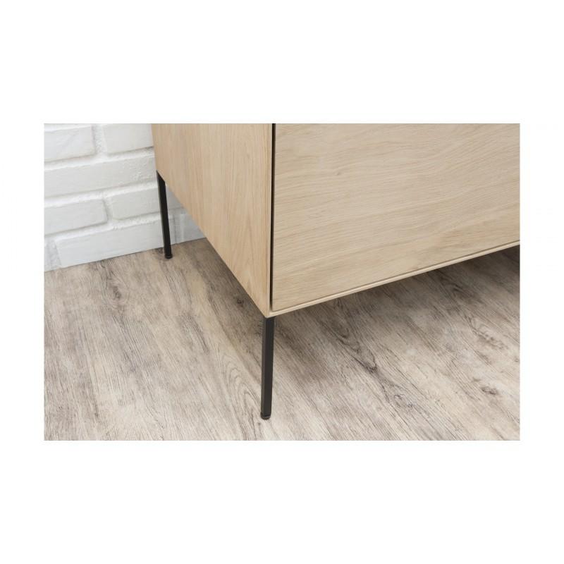 Mueble TV 2 puertas, 1 cajón, 1 nicho diseño BRIEG en 100% madera maciza de roble (roble natural cruda) - image 36033