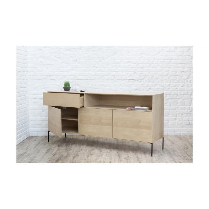 Buffet 3 portes, 1 tiroir, 1 niche design BRIEG en chêne massif 100% (Chêne brut naturel) - image 36036