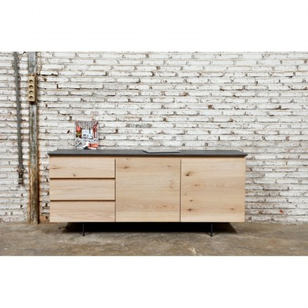 Buffet design low row 2 doors 3 drawers ADRIA solid oak (natural oak)