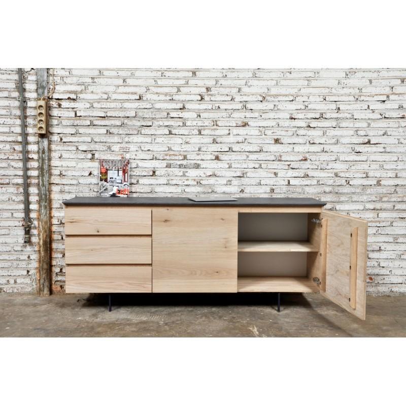 Buffet enfilade bas design 2 portes 3 tiroirs ADRIA en chêne massif (chêne naturel) - image 36052